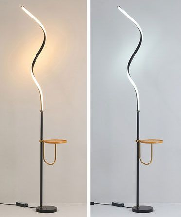 Modern LED Floor Lamp with Shelf Spiral Black & Gold