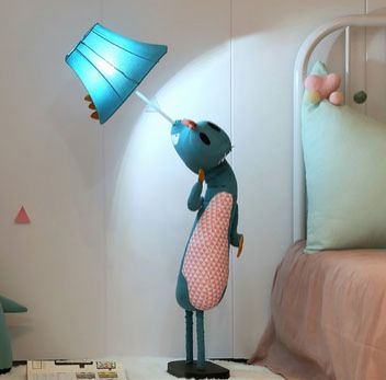 Unique Kids Pink LED Nursery Floor Lamp Bedroom Fabric Dinosaur/Giraffe
