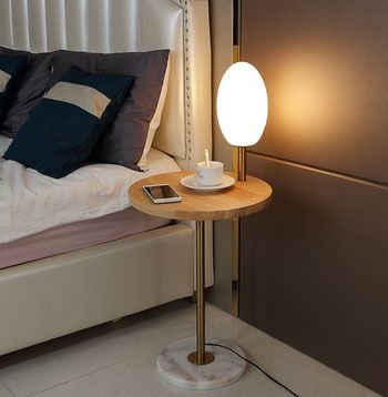 LED Walnut Wood End Table Floor Lamp Glass Shade Wireless Charger Marble Base