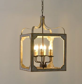 French Country 6-Light Square Lantern Chandelier Metal and Wood in Antique Gray & Antique Gold