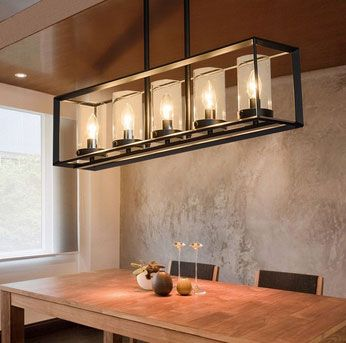 Contemporary Black Metal Frame 5-Light Kitchen Island Linear Pendant Light with Clear Glass Shade