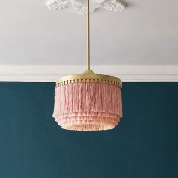 Stylish Pink Pendant Light Fringe Pendant Light Tassel Lighting Boho 1-Light Pendant Light in Gold Finish