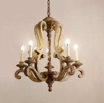 Cottage Style Distressed Brown Wood 5-Light Candelabra Chandelier with Scrolled Arms & Rust Canopy