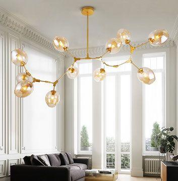 Modern Minimalist Tree Branch Amber Glass Globe Shade Adjustable 11-Light Large Pendant Light Metal in Gold