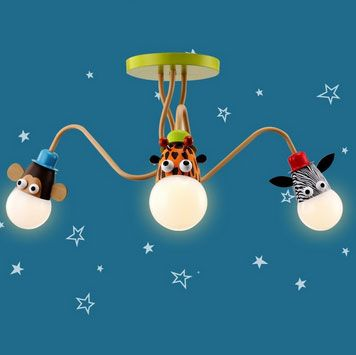 Joy Modern Multicolor 3-Light Semi Flush Mount Lighting Ceiling Lamp for Kids Place