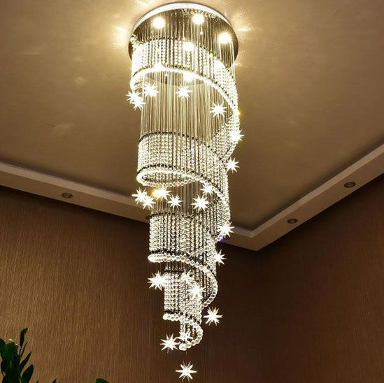 Spiral Meteor Shower Crystal Raindrop Chandelier - Staircase Chandelier