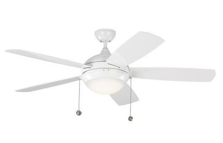 Monte Carlo Fans - 5DIW52 - Discus 5 Blade 52 Inch Ceiling Fan with Pull Chain Control and Includes Light Kit