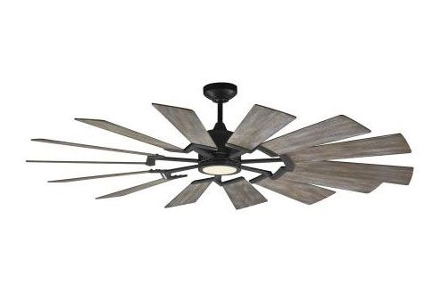 Monte Carlo Fans 14PRR62AGPD Prairie 62 14 Blade 62 Inch Ceiling Fan with Handheld Control and Includes Light Kit