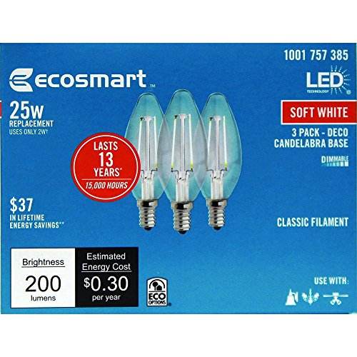 Ecosmart 40w Equivalent Soft White B11 Dimmable Filament: EcoSmart 25W Equivalent Soft White B11 Dimmable Filament